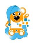 Tecknad filmbjörn med det mobil temat Arkivbild