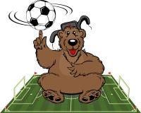 Tecknad filmbjörn med fotbollbollen stock illustrationer