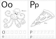 Tecknad filmbläckfisk och pizza Spårande arbetssedel för alfabet: skriva A royaltyfri illustrationer