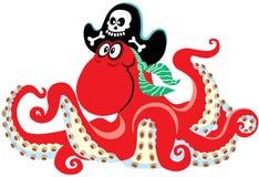 Tecknad filmbläckfisken piratkopierar stock illustrationer