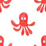 Tecknad filmbl?ckfisk Sömlösa modellbläckfiskar, tecknad filmillustration av strandsommarbakgrund vektor illustrationer