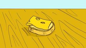 Tecknad filmbröd med smör och ost på trätabellen Royaltyfria Foton