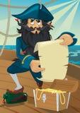 tecknad filmbröstkorgen piratkopierar skatten Arkivfoton