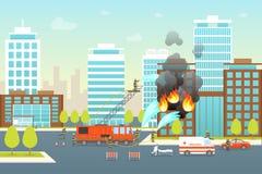 Tecknad filmbrandbekämpningsammansättning i stadskortaffisch vektor stock illustrationer