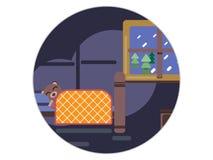 Tecknad filmbrunbjörn som hemma sover i hans säng royaltyfri illustrationer