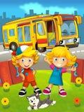 Tecknad filmbuss i staden med ungar - lycklig sommarplats Royaltyfri Bild