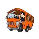 Tecknad filmbuss med en chaufför Arkivbild