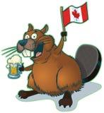 Tecknad filmbäver med öl och den kanadensiska flaggan Arkivfoto