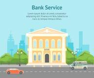 Tecknad filmbyggnadsbank på en affisch för kort för stadslandskapbakgrund vektor royaltyfri illustrationer