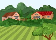 Tecknad filmbyhus med det gröna fältet och träd Royaltyfria Bilder