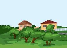 Tecknad filmbyhus med gröna träd Arkivbild