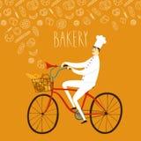 Tecknad filmchef på cykeln Royaltyfri Fotografi