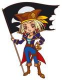 Tecknad filmchibikaptenen piratkopierar flickan med Jolly Roger Arkivfoto