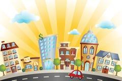 Tecknad filmcityscape Fotografering för Bildbyråer