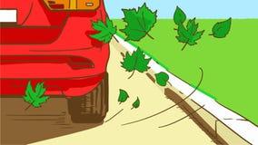 Tecknad filmcloseup av röd bilbaksida och fallande sidor Royaltyfria Foton