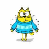 tecknad filmcommandertryckspruta hans illustrationsoldatstopwatch Katt i tröja vektor illustrationer