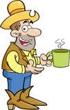 Tecknad filmcowboy med koppen kaffe vektor illustrationer