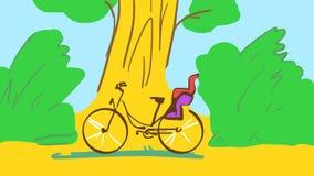 Tecknad filmcykel med barncykeln Seat i en skog Arkivfoto