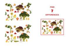 Tecknad filmdiagram av grönsaker och frukter, illustration av Educa Arkivbild