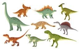 Tecknad filmdinosaurieupps?ttning Gullig dinosauriesymbolssamling Kulöra rovdjur och herbivor Plan illustration som isoleras p? v vektor illustrationer