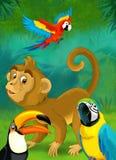 Tecknad filmdjungel - safari - illustration för barnen Arkivfoton