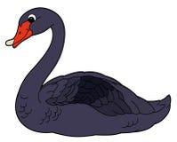 Tecknad filmdjur - svart svan - plan färgläggningstil Arkivfoto