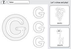 Tecknad filmdruvor och giraff Spårande arbetssedel för alfabet: skriva royaltyfri illustrationer
