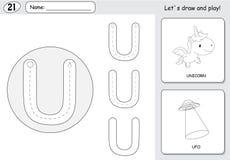 Tecknad filmenhörning och ufo Spårande arbetssedel för alfabet: HandstilA-Z stock illustrationer