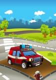 Tecknad filmetapp med lastbilen för färgrik och gladlynt plats för brandstridighet - stock illustrationer