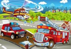 Tecknad filmetapp med olika maskiner för färgrik och gladlynt plats för brandbekämpning - stock illustrationer