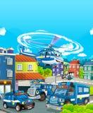 Tecknad filmetapp med olika maskiner för färgrik och gladlynt plats för polisarbetsuppgift - vektor illustrationer