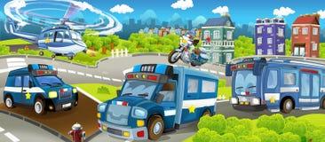 Tecknad filmetapp med olika maskiner för färgrik och gladlynt plats för polisarbetsuppgift - stock illustrationer