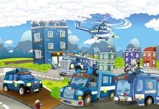 Tecknad filmetapp med olika maskiner för färgrik och gladlynt plats för polisarbetsuppgift - royaltyfri illustrationer
