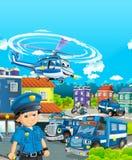 Tecknad filmetapp med olika maskiner för färgrik och gladlynt plats för för polisarbetsuppgift och polis - vektor illustrationer