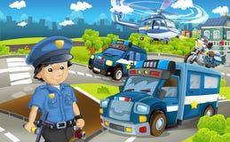 Tecknad filmetapp med olika maskiner för färgrik och gladlynt plats för för polisarbetsuppgift och polis - stock illustrationer