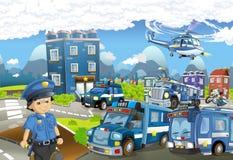 Tecknad filmetapp med olika maskiner för färgrik och gladlynt plats för för polisarbetsuppgift och polis - royaltyfri illustrationer