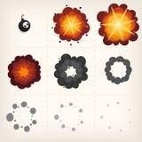 Tecknad filmexplosionanimering Fotografering för Bildbyråer