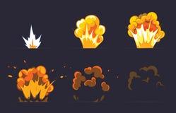 Tecknad filmexplosioneffekt med rök vektor stock illustrationer