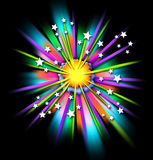 tecknad filmexplosionstjärnor w Royaltyfria Foton