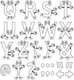 tecknad filmfärgläggning för 2 alfabet stock illustrationer