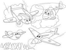 Tecknad filmfärgläggninghelikoptrar och nivåer med framsidor Bo transport royaltyfri illustrationer