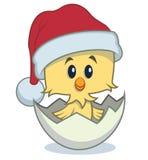 Tecknad filmfågelunge med jultomtenhatten Royaltyfri Illustrationer