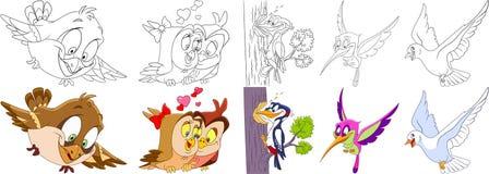 Tecknad filmfågeluppsättning royaltyfri illustrationer