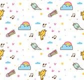 Tecknad filmfåglar som sjunger sömlös bakgrund stock illustrationer
