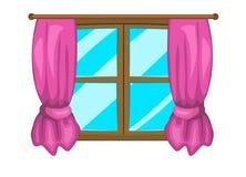 Tecknad filmfönster med design för symbol för gardinvektorsymbol vektor illustrationer