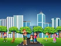 Tecknad filmfamilj som har gyckel på vägen vektor illustrationer