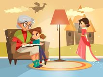 tecknad filmfarmor som läser till flickan Vektor Illustrationer