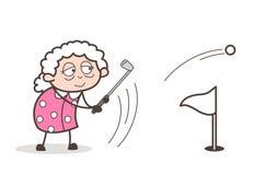 Tecknad filmfarmor som spelar illustrationen för golfsportvektor vektor illustrationer