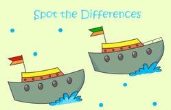 Tecknad filmfartyg spot skillnaderna Arkivbild
