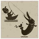 Tecknad filmfiskare Arkivbilder